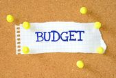 Budget on a piece of note paper — Stock Photo