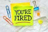 Business short message text You're fired — Stock Photo