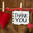 Thank You message written on a paper hanging on the clothesline — Stock Photo #53777321