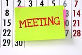 The Meeting written on sticky paper note — Stock Photo