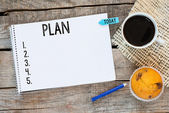Notebook with an action plan — Stok fotoğraf