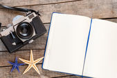 Notebook decorated with starfishes — Stock fotografie