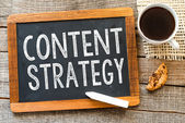 Content strategy  handwritten with white chalk — Stock Photo