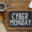 Cyber monday  handwritten with white chalk — Stock Photo #55351261