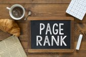 Page Rank handwritten with white chalk — Stock Photo
