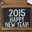 2015 Happy New Year! handwritten with white chalk — Stock Photo #55428925