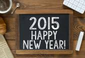 2015 Happy New Year! handwritten with white chalk — Stock Photo