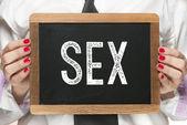 Lavagna con la parola sesso — Foto Stock