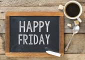 Happy Friday sign on Blackboard — Stock Photo