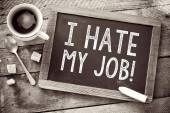 Blackboard with I Hate My Job sign — Stock Photo