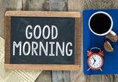Good Morning sign on blackboard — Stockfoto