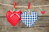 Hearts attach to rope — Foto Stock