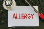 Allergy sign and stethoscope — Stock Photo