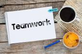 Notebook with  teamwork sign — Stock Photo