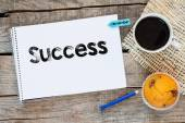 Notebook with success sign — Stock Photo