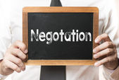 Businessman with negotation  word — Stock Photo