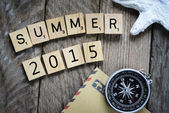 Summer 2015 with  compass — Stock Photo