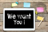 We want you on Tablet computer — Stok fotoğraf