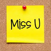Note with miss you — Stock Photo