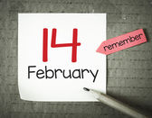 Note with 14 february — Stock Photo