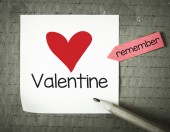 Note with Valentine and pencil — Stock Photo