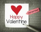 Note with Happy Valentine — Stock Photo