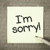 Note with I'm sorry — Stock Photo