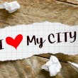 Note with I love my city — Stock Photo #63572721