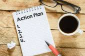 Notebook with action plan — Stock Photo
