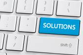 Keyboard with solutions button — Stock Photo