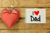 I love my dad Card with heart — Stock Photo