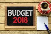 Budget 2018 sign on blackboard — Stock Photo