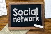 Social network handwritten on  blackboard — Foto de Stock