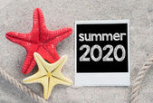 Summer 2020 text  with starfishes — Stock Photo