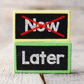 Now and Later option — Stock Photo