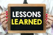 Blackboard with  lessons learned — Stock Photo