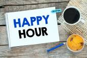 Notebook with happy hour — Foto de Stock