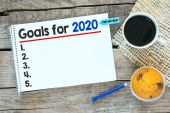 Notebook with goals for 2020 — Stock Photo