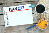 Notebook with plan 2017 — Stock Photo