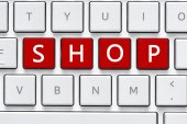 Keyboard with shop  button — Stock Photo