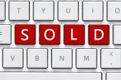 Keyboard with sold button — Stock Photo