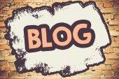 Blog On brick wall — Stock Photo