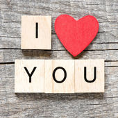 Scrabble letters spelling I love you — 图库照片