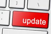 Klávesnice s červeným tlačítkem update — Stock fotografie