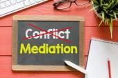 Conflict and mediation  on  blackboard — Foto de Stock
