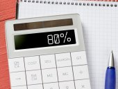 Calculator with 80 percent — Stock Photo