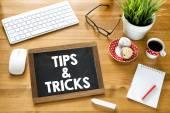 Handwritten  tips & tricks  on blackboard — Zdjęcie stockowe