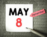 Note with 8  may — Stock Photo