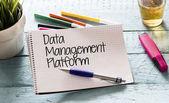 Notepad with data,management,platform — Stock Photo