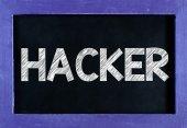 Haker słowo na tablicy — Zdjęcie stockowe